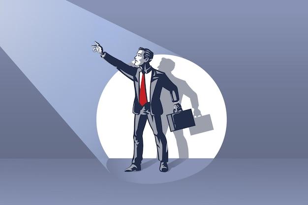 Geschäftsmann, der auf der bühne steht und hand an die konzeptionelle illustration des blauen kragens des scheinwerfers winkt