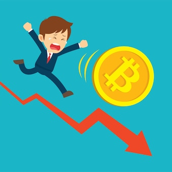 Geschäftsmann, der auf diagrammen läuft, sind am bitcoin-preisabfall traurig.