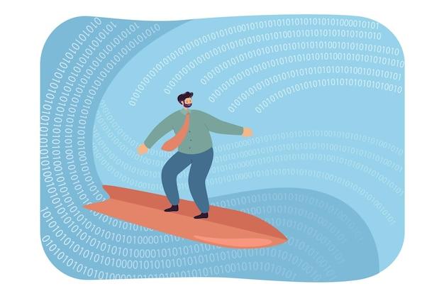Geschäftsmann, der auf digitaler welle surft