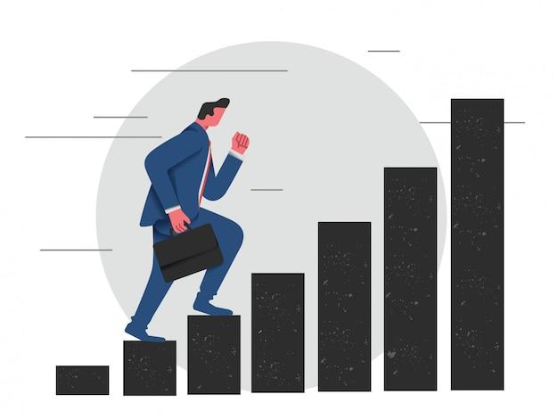 Geschäftsmann, der auf ein karrieretreppenhaus tritt, um erfolgreich zu sein