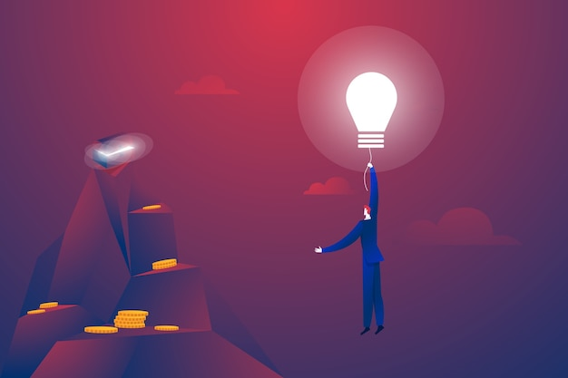 Geschäftsmann, der auf einem glühbirnenballonvektor fliegt. symbol für kreativität, innovation, kreative ideen und lösungen