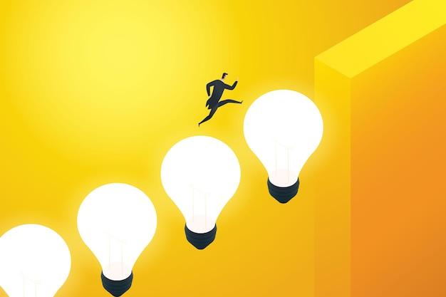 Geschäftsmann, der auf einer glühbirne die klippe hinauf läuft geschäftsidee, auf kreativen brücken zu laufen