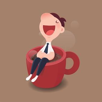 Geschäftsmann, der auf einer roten schale heißem kaffee sitzt.