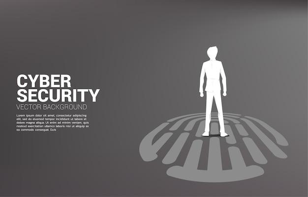 Geschäftsmann, der auf fingerscan-symbol steht. hintergrundillustration für sicherheits- und datenschutztechnologie im netzwerk