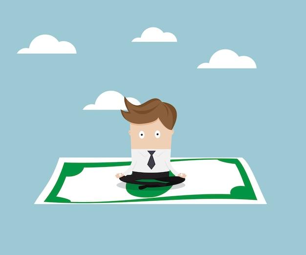 Geschäftsmann, der auf geld sitzt und zum himmel fliegt