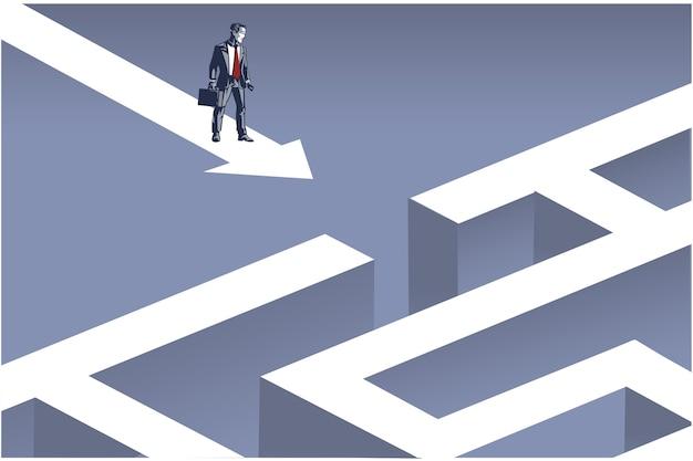 Geschäftsmann, der auf pfeil steht, der zum eingang der konzeptionellen illustration des riesigen puzzles des blauen puzzles übergeht