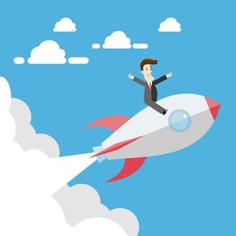 Geschäftsmann, der auf rakete fliegt. business-konzept-illustration