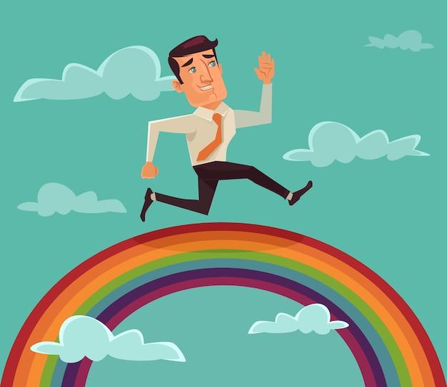 Geschäftsmann, der auf regenbogenflachillustration läuft