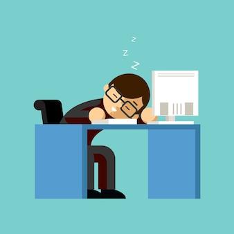 Geschäftsmann, der auf seinem schreibtisch schläft. tisch und arbeit, schläfrig und beruflich, nickerchen und faul, schlafend und arbeitend.
