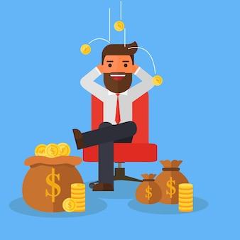 Geschäftsmann, der auf stuhl im hintergrundgeld sich entspannt