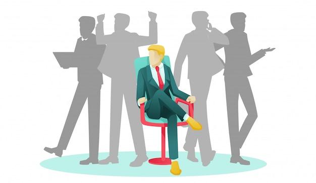 Geschäftsmann, der auf stuhl und menschlichen schattenbildern sitzt