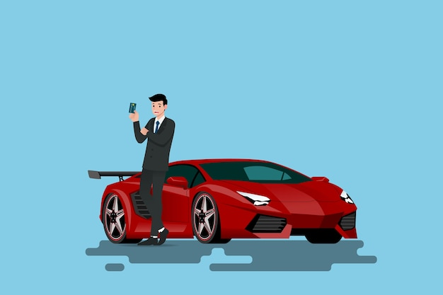 Geschäftsmann, der auf superauto sich lehnt und kreditkarte zeigt