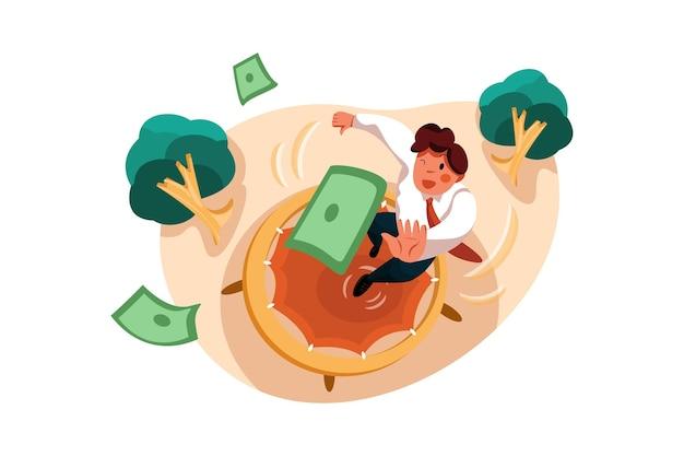 Geschäftsmann, der auf trampolin springt, um dollar zu fangen