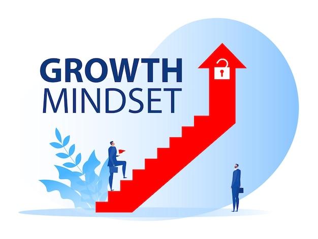 Geschäftsmann, der auf treppe auf pfeilwachstums-denkweise zur karriere geht