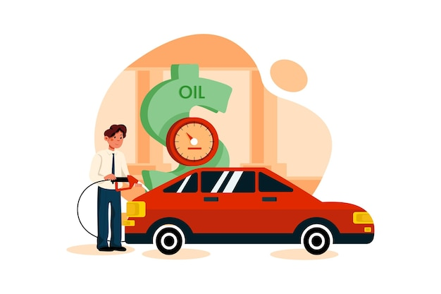 Geschäftsmann, der auto von dollarpumpe tankt