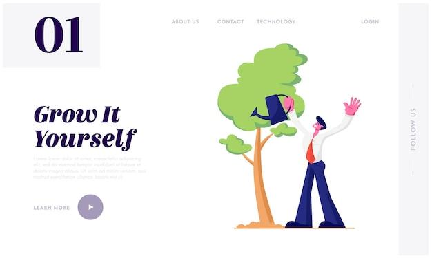 Geschäftsmann, der bäume im garten mit wasserkanister wässert. lebenszyklus-, zeitlinien- und wachstumsmetapher, gartenhobby, erfolg. website landing page