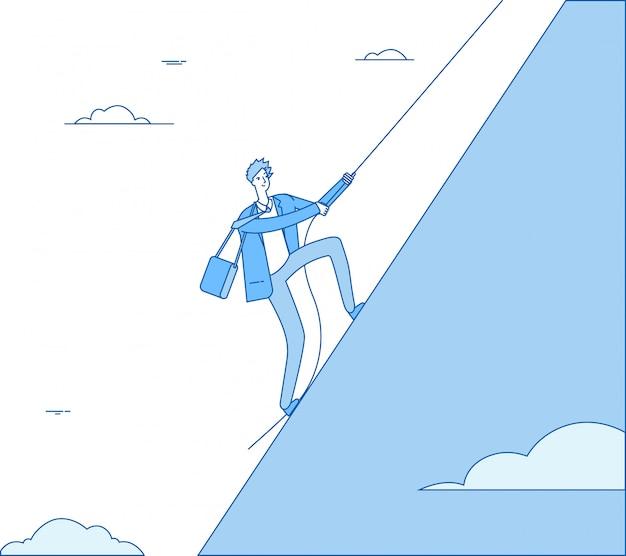 Geschäftsmann, der berg klettert. führer mit seil klettert auf spitze. finanzgewinn, erfolgreiches mannführungsgeschäftskonzept