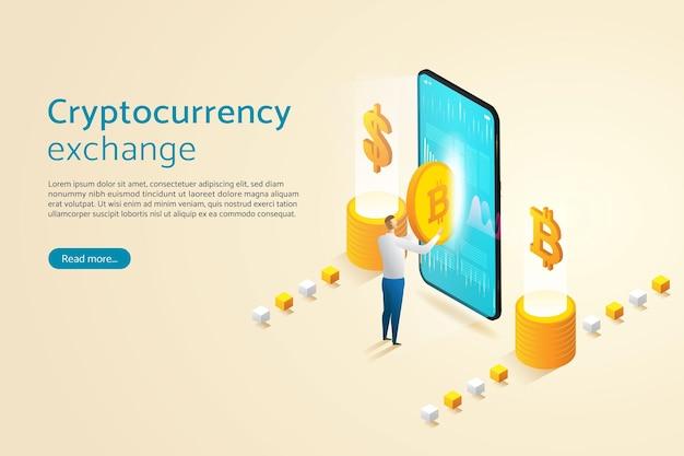 Geschäftsmann, der bitcoin über smartphone mit investition online cryptocurrency blockchain handelt