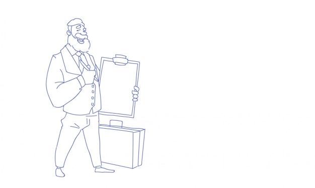 Geschäftsmann, der checklistenklemmbrett-wirtschaftsumfrageform-skizzengekritzel hält