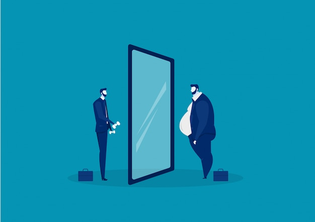 Geschäftsmann, der den spiegel steht mit dem fetten bauch betrachtet. vergleiche körper dünn