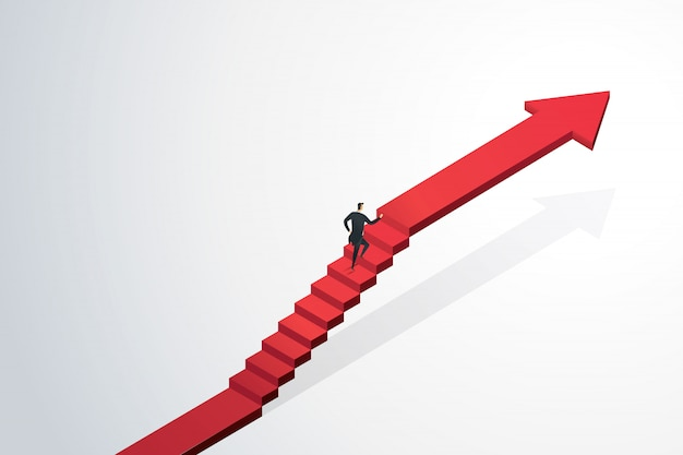 Geschäftsmann, der den treppenpfeil zum ziel und zum erfolg hinaufstürzt. unternehmenskonzept Premium Vektoren