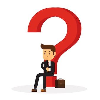 Geschäftsmann, der denkt und sich fragt