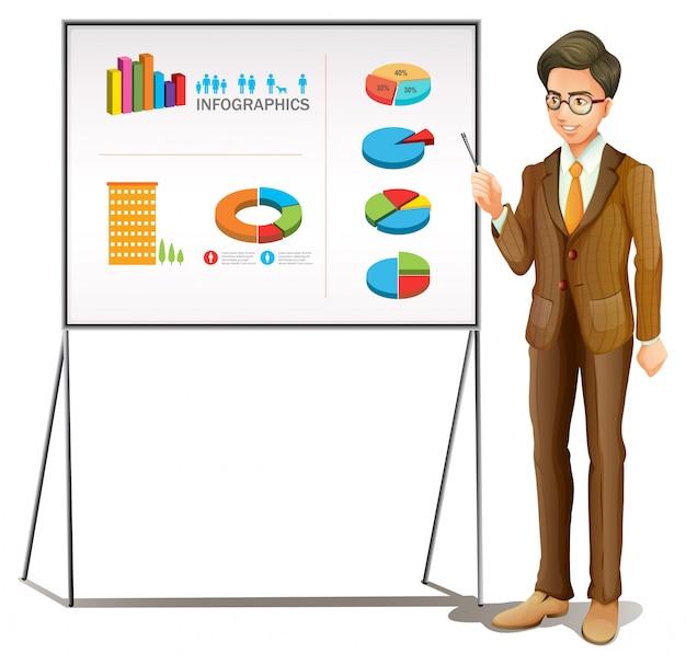 Geschäftsmann, der diagramme auf dem brett darstellt
