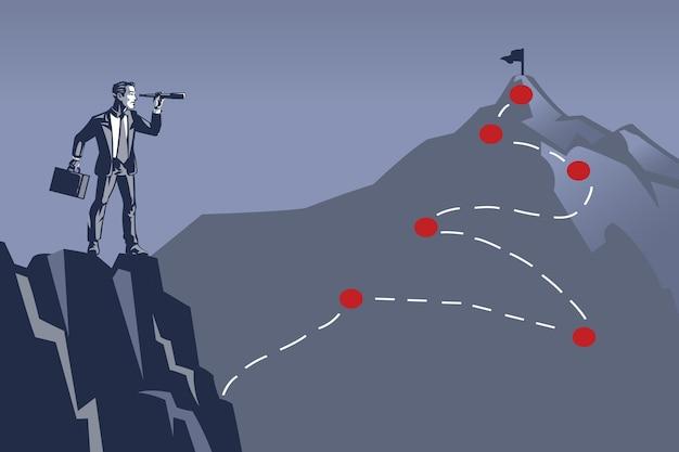 Geschäftsmann, der die spitze des berges unter verwendung des fernglases betrachtet. illustrationskonzept von schwer zu erreichendem geschäftsziel oder -ziel