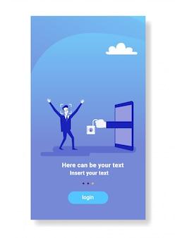 Geschäftsmann, der die zugangsgesichtsidentifikation scannt modernes biometrisches technologieerkennungssystemkonzept erhält