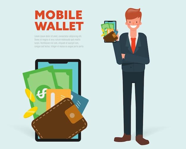 Geschäftsmann, der digitale bewegliche geldbörse darstellt.