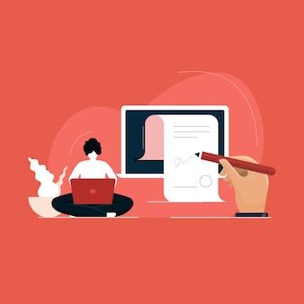 Geschäftsmann, der digitales vertragsdokument unterzeichnet, elektronische unterschrift auf laptop