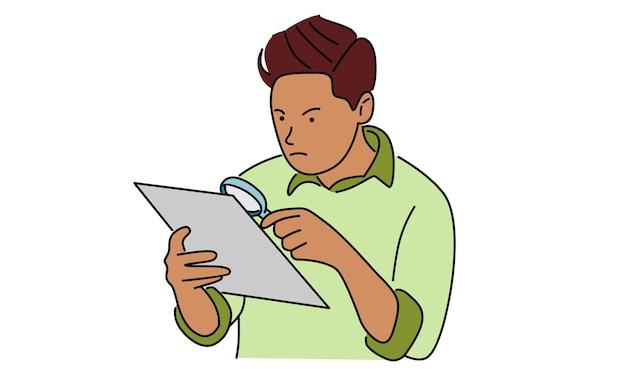 Geschäftsmann, der dokument unter verwendung der lupe sucht