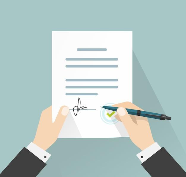 Geschäftsmann, der dokumentvertragsvertrag mit stiftillustration unterzeichnet