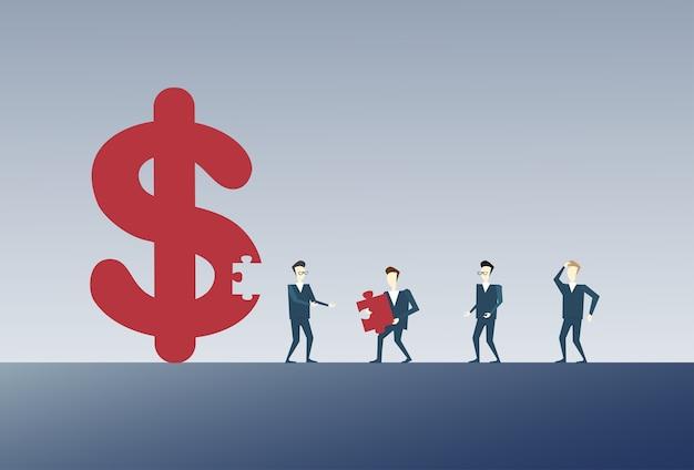 Geschäftsmann, der dollar-zeichen sammelt