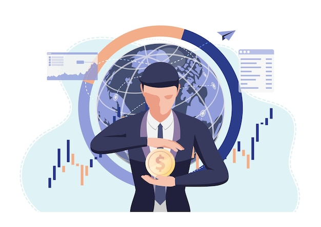 Geschäftsmann, der dollarmünze in seiner hand hält. geldschutz und finanzkonzept.