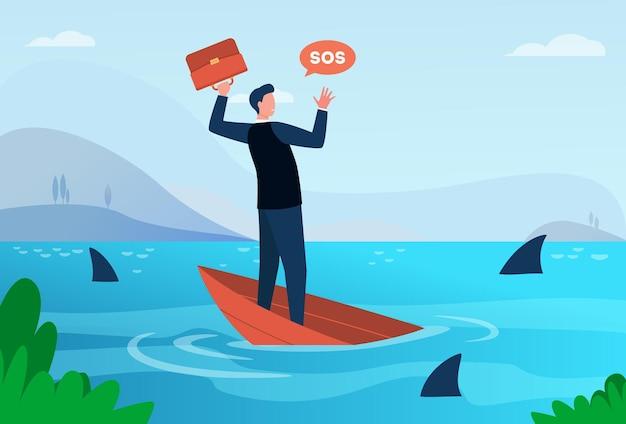 Geschäftsmann, der durch finanzkrise und konkursmetapher geht. mann auf sinkendem boot im meer mit haien