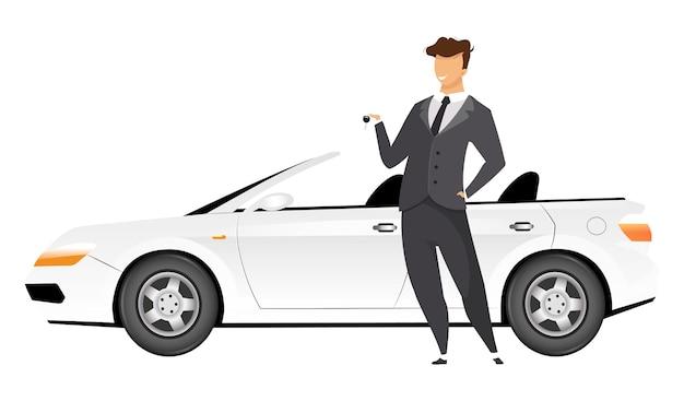 Geschäftsmann, der durch gesichtslosen charakter der flachen designfarbe des autos steht