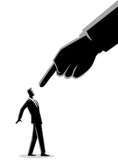 Geschäftsmann, der durch riesigen finger gezeigt wird