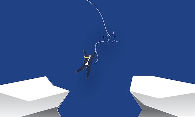 Geschäftsmann, der ein brechendes seil hält, konzeptinspirationsgeschäft