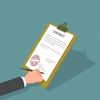 Geschäftsmann, der ein dokument mit stift und vertrag unterzeichnet