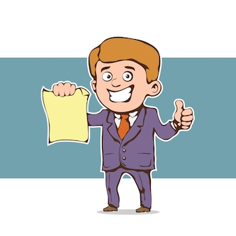 Geschäftsmann, der ein dokument zeigt