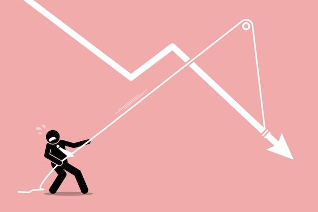 Geschäftsmann, der ein fallendes pfeilgraphendiagramm vom weiteren herunterfallen zieht. das kunstwerk zeigt die wirtschaftskrise, den abschwung, den finanziellen druck und die belastung.