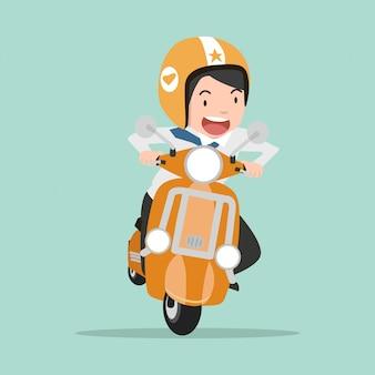 Geschäftsmann, der ein motorrad geht zu arbeiten reitet