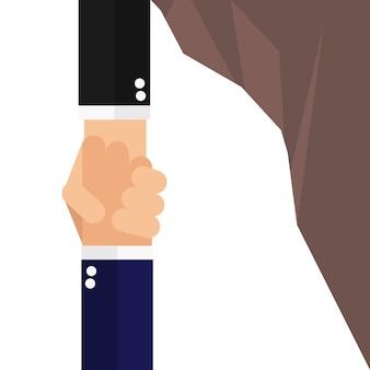 Geschäftsmann, der eine andere hand vom fallen hält