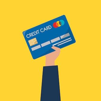 Geschäftsmann, der eine kreditkarte anhält