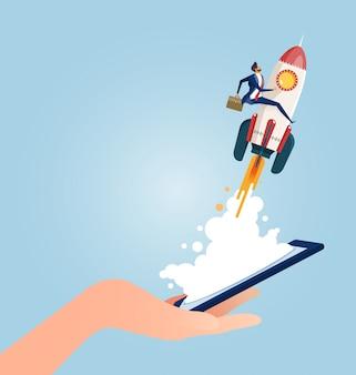 Geschäftsmann, der eine rakete reitet, die von den intelligenten telefonen startet