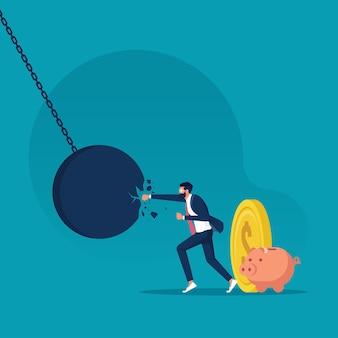 Geschäftsmann, der eine riesige abrissbirne schlägt und bricht krisenmanagement und problemlösung