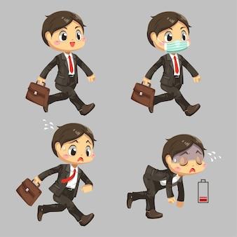 Geschäftsmann, der eine schutzmaske hält, die aktentasche beeilt, die in der hauptverkehrszeit in der flachen illustration der karikaturfigur auf weißem hintergrund geht