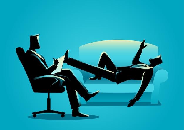 Geschäftsmann, der eine therapie mit psychologen hat
