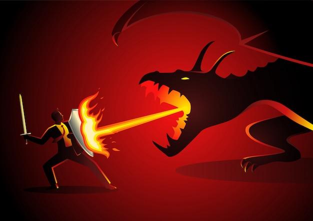 Geschäftsmann, der einen drachen kämpft